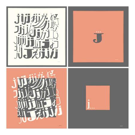 caligraphic: Stylish alphabet in frames  Letter J  Typographic elements illustration Illustration