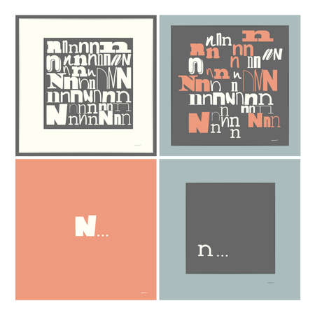 caligraphic: Stylish alphabet in frames  Letter N  Typographic elements illustration Illustration