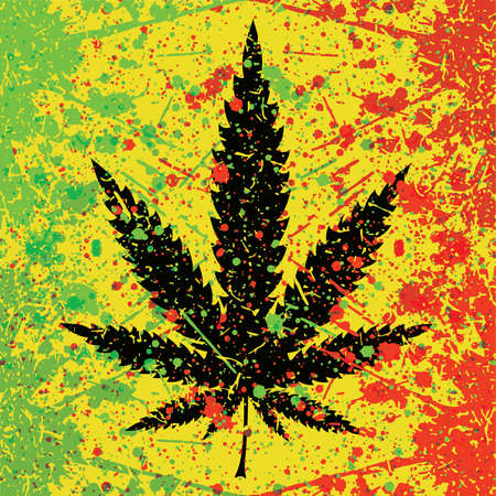 Abstract background with cannabis leaf and color spray paint illustration Vector