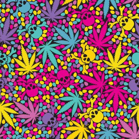 hoja marihuana: Cannabis hojea con calaveras - sin patr�n Vectores