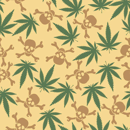 Cannabis leafs with skulls - seamless pattern Vector