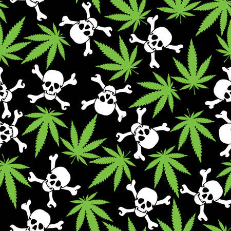 Cannabis leafs with skulls - seamless pattern