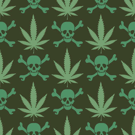 hostile: Cannabis leafs with skulls - seamless pattern