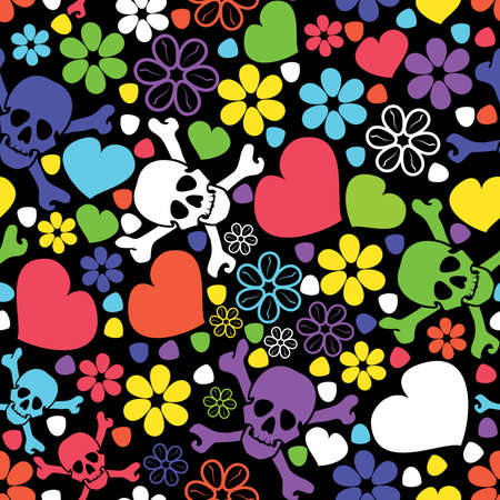 Flowers, skulls and hearts - seamless pattern