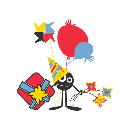 Character with gift, flowers, and air ballons is coming on birthday party  Birthday card  Cartoon illustration Vector