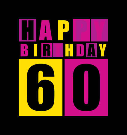 Tarjeta De Cumpleaños Feliz Retro Feliz Cumpleaños 60 Años Tarjetas De Regalo Ilustración Vectorial