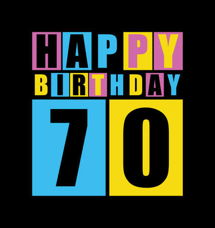 70 years: Retro Happy birthday card  Happy birthday 70 years  Gift card  Vector illustration