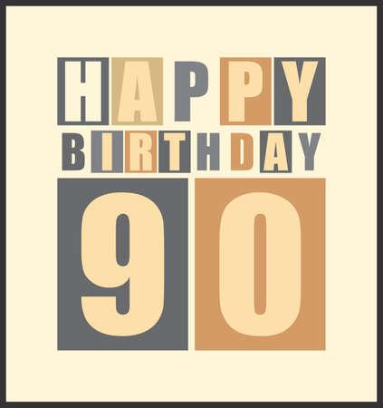 90 years: Carta di compleanno Retro felice compleanno 90 anni Gift card vettore