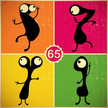 Set of four monsters on retro grunge background Illustration