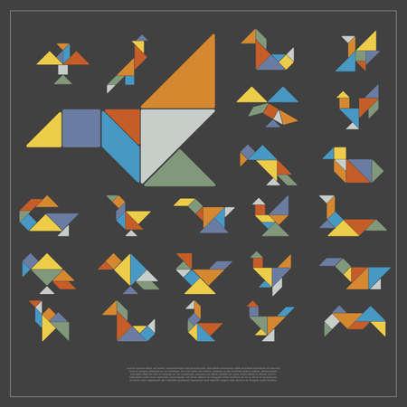 Set of tangram birds - vector illustration Ilustração