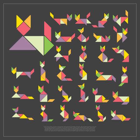 Set of tangram cats - vector illustration Vector