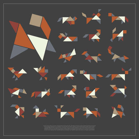 Set of tangram animals - vector illustration
