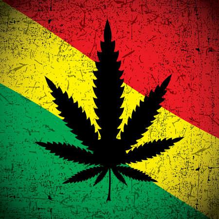 rastafarian: Cannabis leaf on grunge rastafarian flag. Vector illustration Illustration
