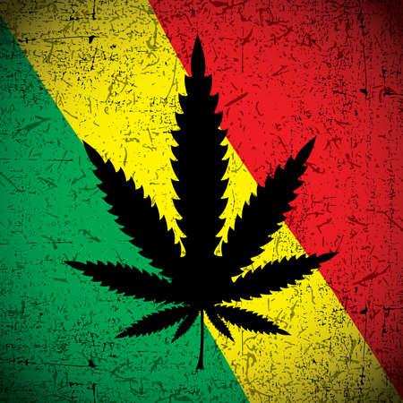 Cannabis leaf on grunge rastafarian flag. Vector illustration Vector