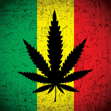 rastaman: Cannabis leaf on grunge rastafarian flag. Vector illustration Illustration