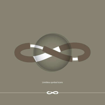limitless: Abstract white limitless icon on chocolate brown background. Vector illustration