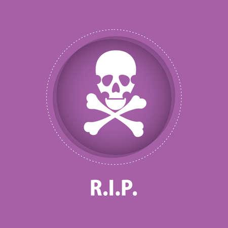violet background: Teschio bianco in cerchio su sfondo viola