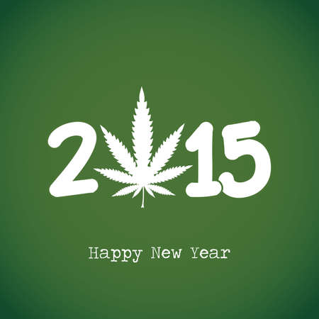 Happy New Year.Cannabis leaf with 2015 year on green background. Vector illustration