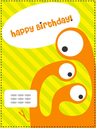 Happy birthday invitation card with cute monster vector illustration Vector