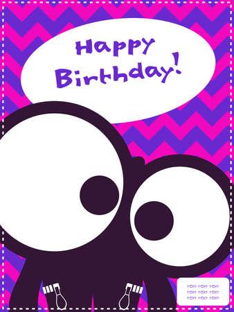 Happy birthday invitation card with cute monster vector illustration Vector
