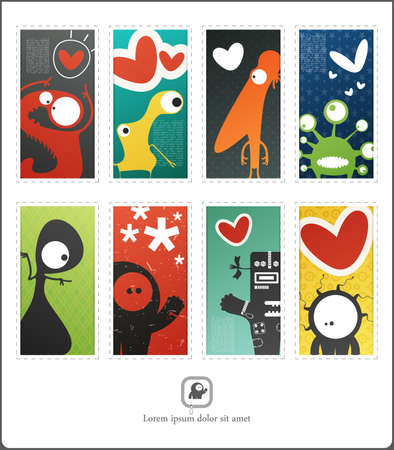 Decorative funny card with cute monsters in love. Valentine day card. Vector illustration Vector