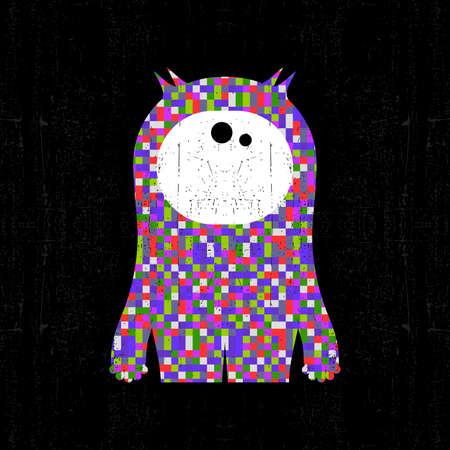 black grunge background: Colorful pixel monster on black grunge background. Vector illustration