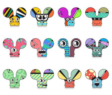 Set of twelve monsters. vector illustration Vector