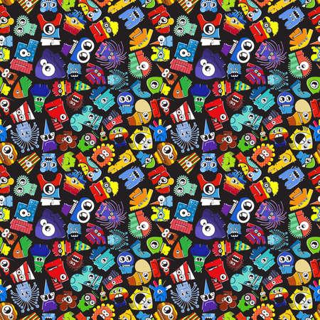 Monsters  seamless pattern. Vector illustration Vector