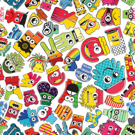 Monsters  seamless pattern. Vector illustration Vector