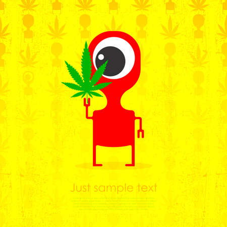 canabis: Cute monster with marijuana leaf in hand. Vector illustration