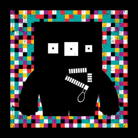Monster on grunge pixel background Vector