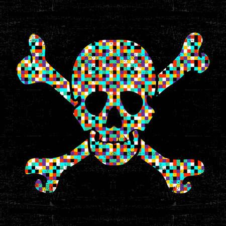 black grunge background: Colorful pixel skull on black grunge background. vector illustration Illustration