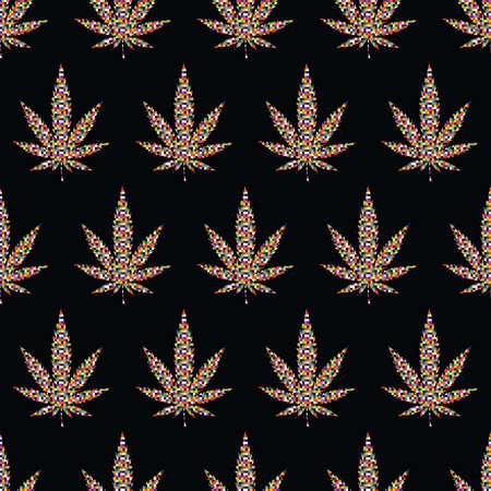 leafs: Pixel Cannabis leafs  seamless pattern