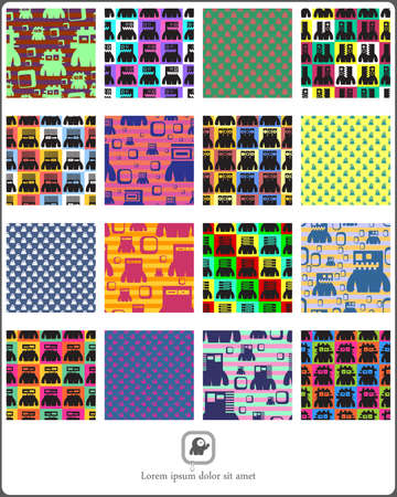 Set of monsters  seamless pattern. Vector illustration Vector