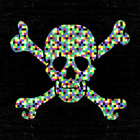 mort: Colorful pixel skull on black grunge background. vector illustration Illustration