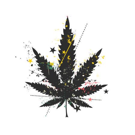 rastaman: Cannabis leaf with grunge color elements. vector illustration.