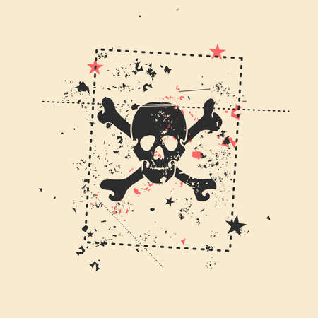 mort: Skull on grunge background. Vector illustration.
