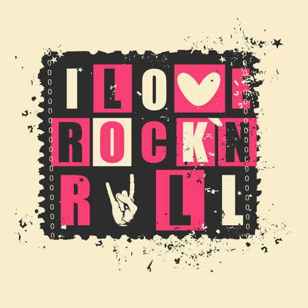 rock and roll: Retro letters I love Rockn Rock on grunge postage stamp. vector illustration
