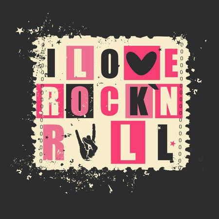 """concierto de rock: Letras retras """"Me encanta Rockn Rock"""" en el sello del grunge. ilustración vectorial"""