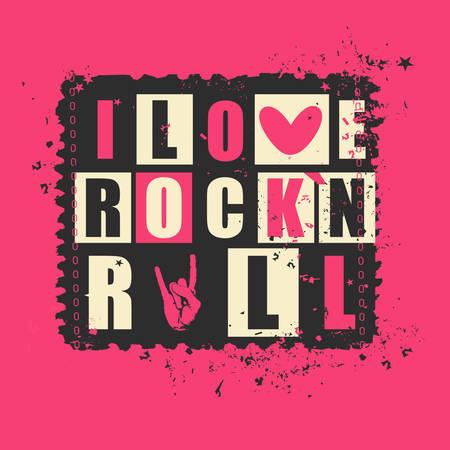 """concerto rock: Letras retras """"Me encanta Rockn Rock"""" en el sello del grunge. ilustración vectorial"""