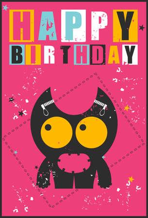 birthday invitation: Happy birthday invitation card with cute monster vector illustration