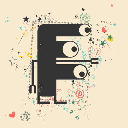 bacteria in heart: Cute monster on retro grunge background. Cartoon illustration. Vintage vector illustration.