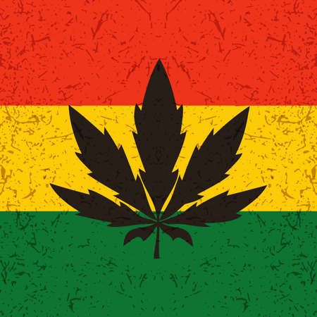 cannabis sativa: Cannabis leaf on grunge rastafarian flag. Vector illustration Illustration