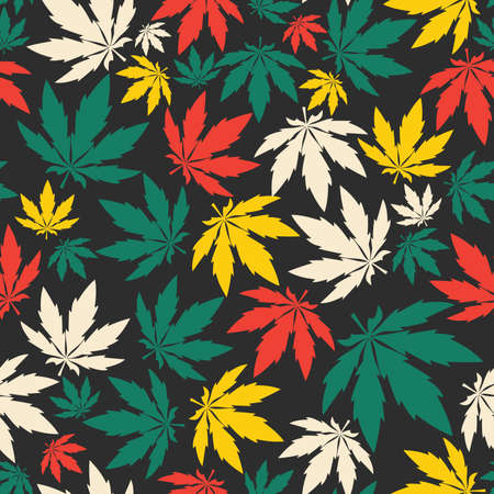 cannabis leaf: Cannabis leafs - seamless pattern