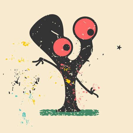 torn heart: Cute monster on retro grunge background. Cartoon illustration. Vintage vector illustration.