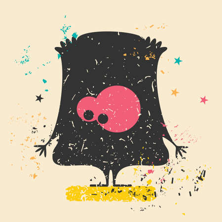 bacteria in heart: Cute monster on retro grunge Illustration