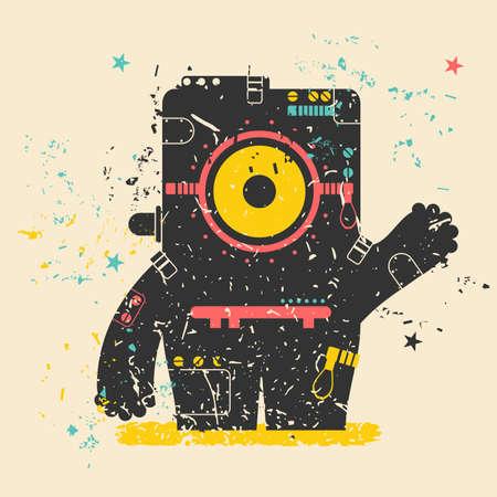 Cute monster on retro grunge Illustration