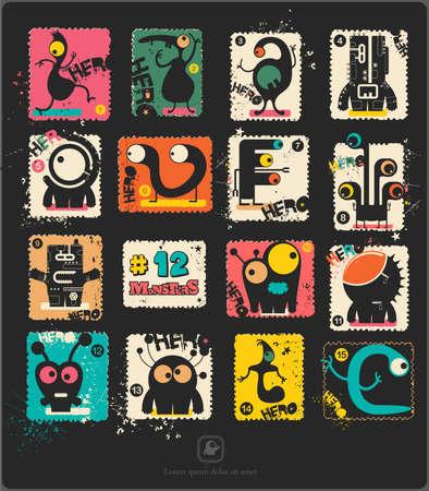 teufel engel: Set mit Retro-Portos Briefmarke mit lustigen Monstern. Cartoon Illustration. Vektor gesetzt.