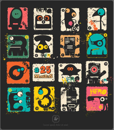 shapes cartoon: Set of retro postages stamp with funny monsters. Cartoon illustration. Vector set.