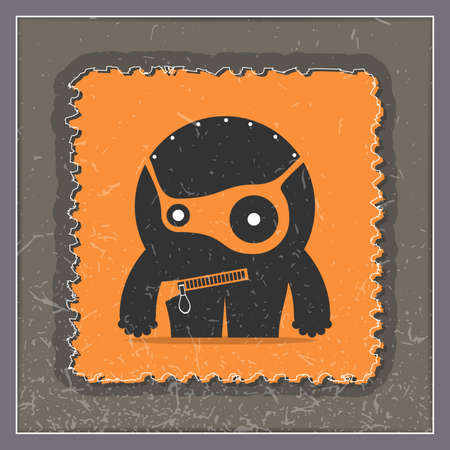 postage stamp: Monster on grunge postage stamp. Cartoon illustration, vector.
